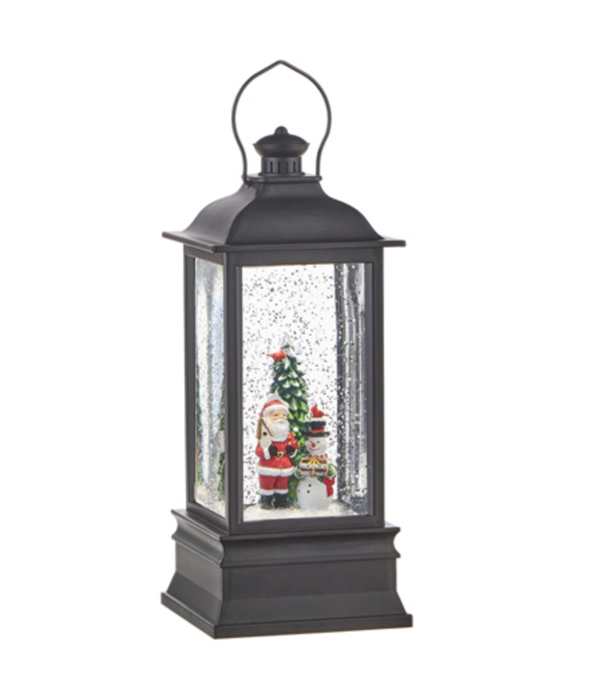 "8.75"" Santa and Snowman Lighted Water Lantern"