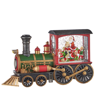 "12.25"" Santa's List Musical Lighted Water Train Lantern"