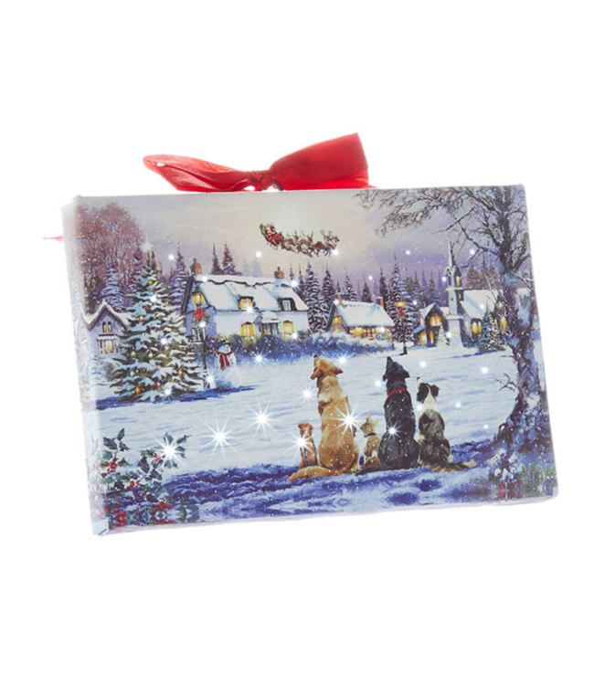 "6"" Dogs Watching Santa Lighted Print Ornament with Easel Back"