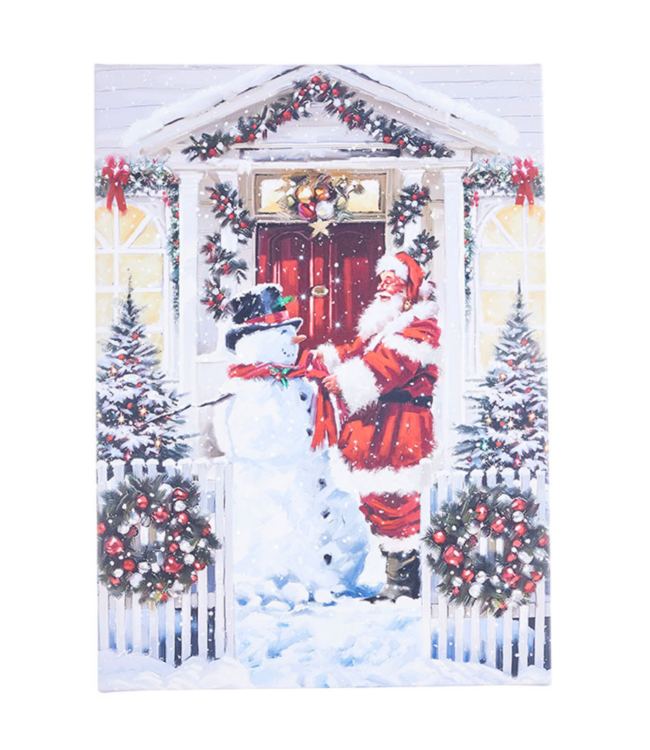 "21"" Santa and Snowman Lighted Print"