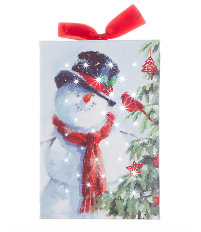 """6"""" Snowman with Cardinal Lighted Print Ornament"""