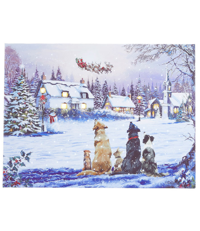 """24"""" Dogs Watching Santa Lighted Print"""