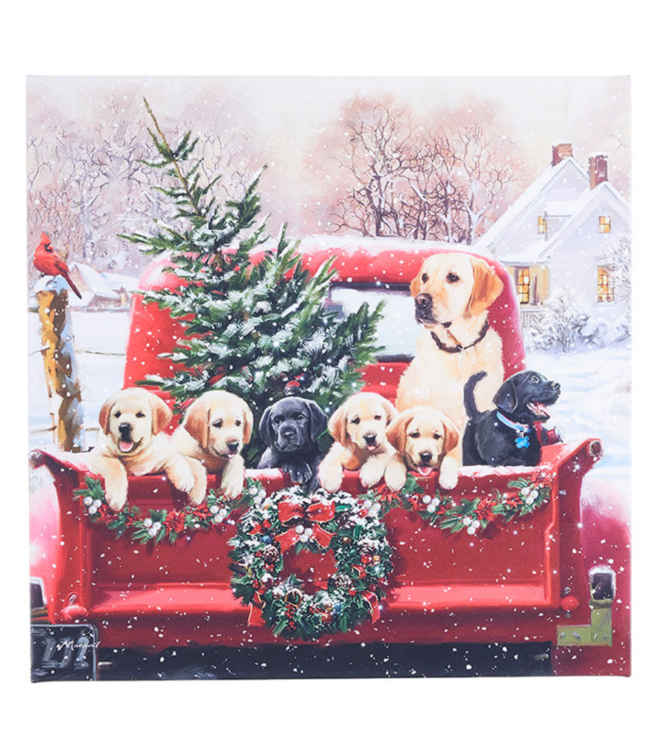 """20"""" Labradors in Truck Lighted Print"""