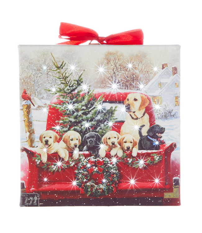 "6"" Labradors in Truck Lighted Print Ornament with Easel Back"