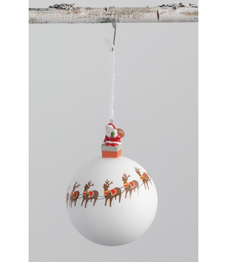 Sullivans Santa and Reindeer Ball Ornament