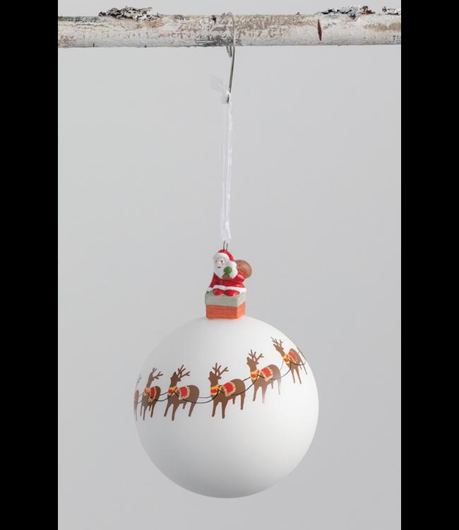 Sullivans Santa and Reindeer Ball Ornament