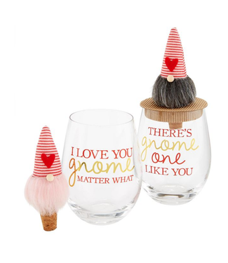 Mud Pie Valentine Gnome Wine Glass with Topper