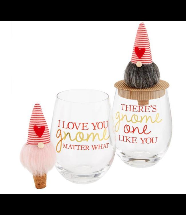 Mud Pie Valentine Gnome Wine Glass with Topper