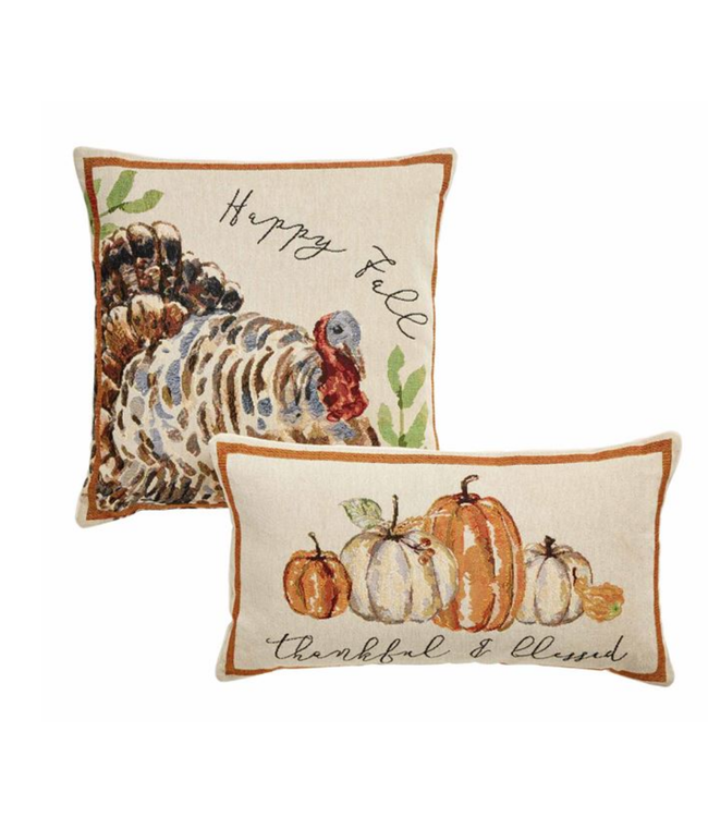 Mud Pie Thanksgiving Tapestry Pillows