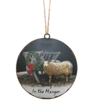 Sheep by Manager disk ornament