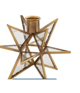 Mud Pie Gold Star Candle Holder