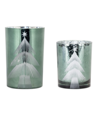 Etched Tree Candle Holder