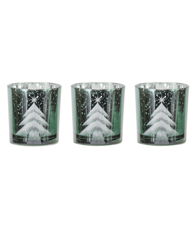Etched Tree Votive Holder