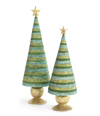 "Dekorasyon 14.5"" Horizontal Bon Bon Tree with Star (Evergreen)"