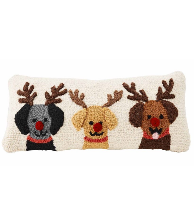 Mud Pie Triple Reindeer Dog Pillow