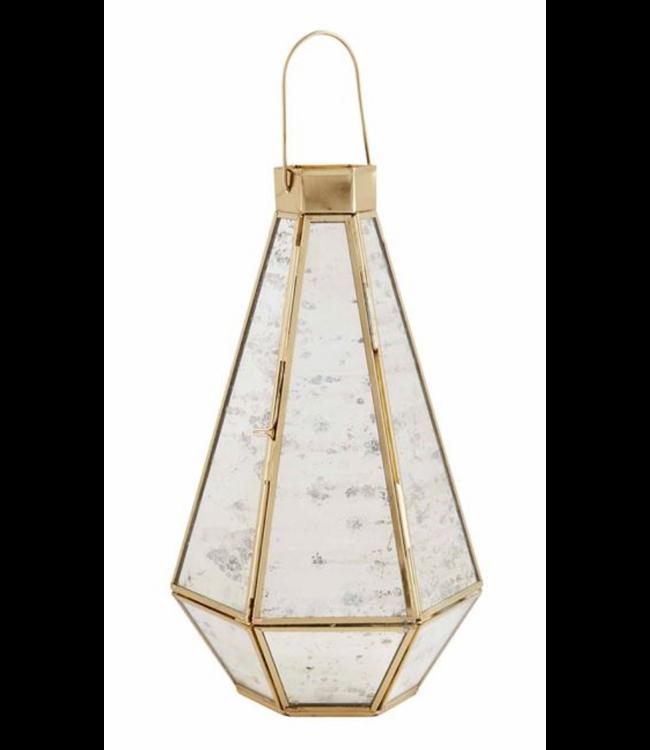Mud Pie Mercury Glass Brass Lantern