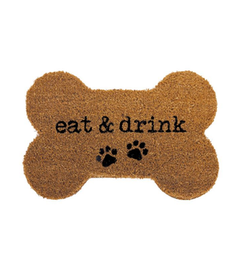 Mud Pie Eat and Drink Bone Shaped Coir Mat