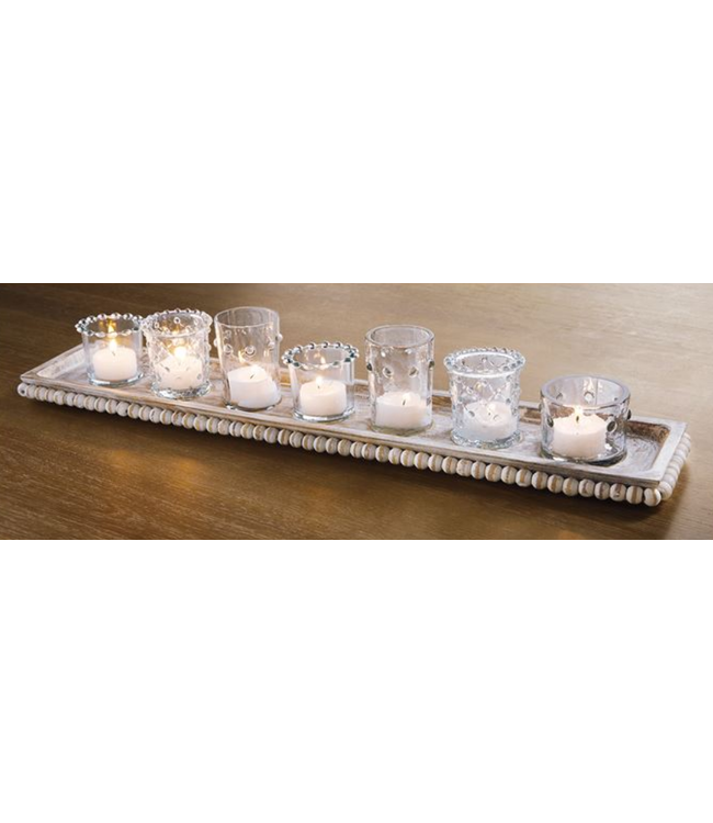 Mud Pie Votive Holders on Beaded Tray