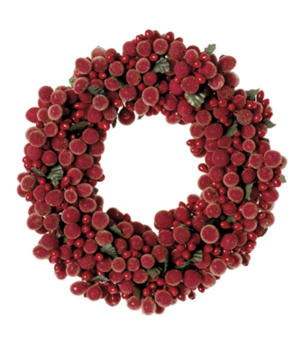 """6.5"""" Beaded Berry Wreath Candle"""