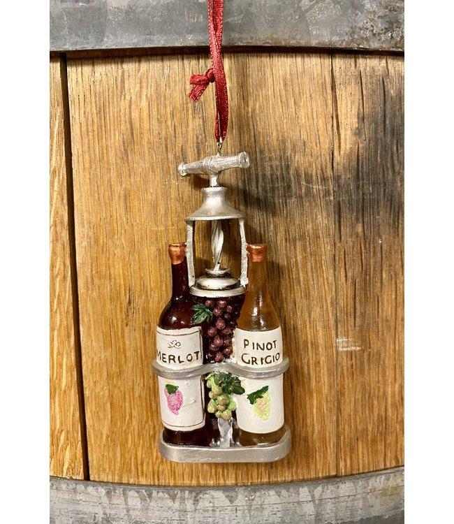 """Wine & Bottle Opener Ornament 3"""""""