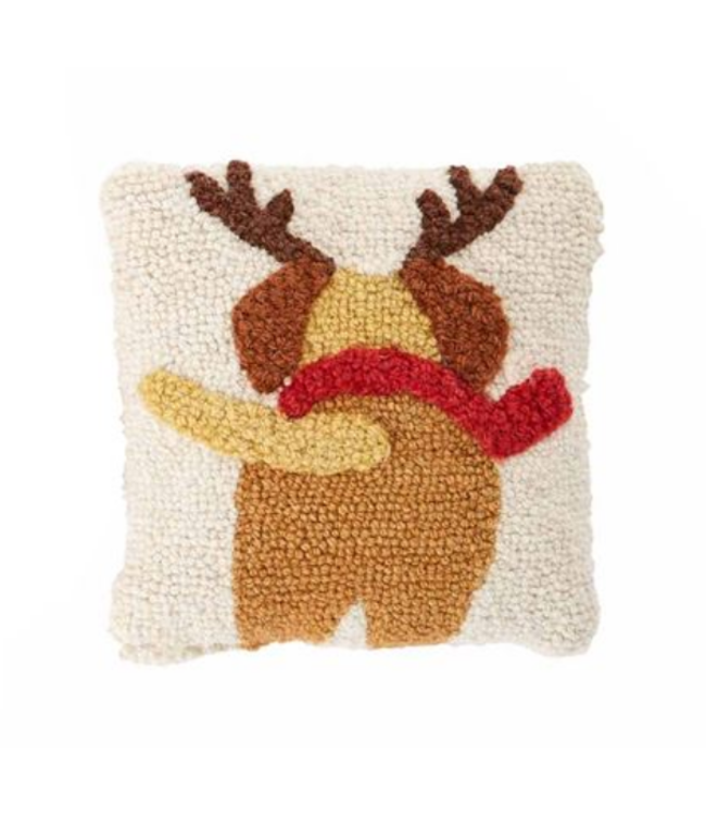 Mud Pie Dog Mini Hook Pillow Reindeer