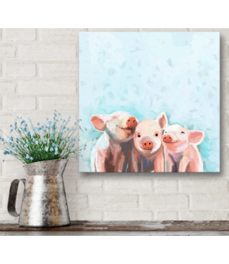 Three Little Piggies Bandana Canvas 10x10