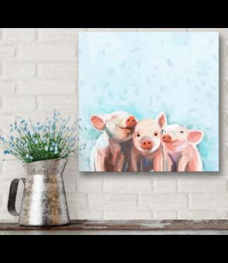 Three Little Piggies Bandana Canvas 10x10