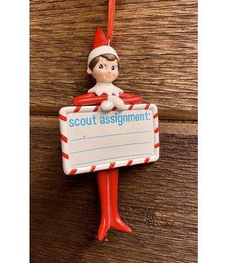 Dept 56 Elf Shelf Scout Assignment Orn