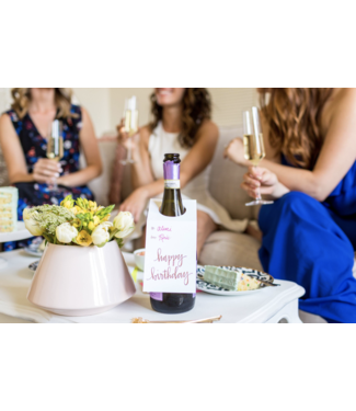 Happy Birthday Rose Gold Wine and Spirits Tag
