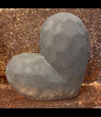 Modern Textured Silver Heart