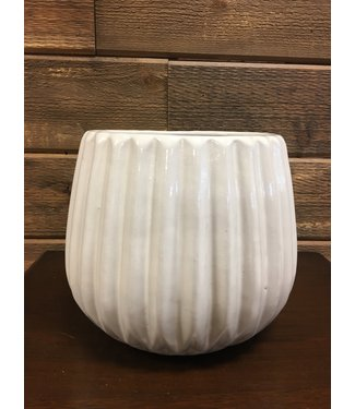 Pleated White Glazed Ceramic Planter