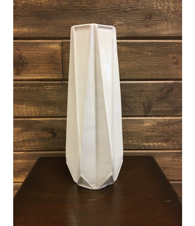 "15"" Tall Pleated White Glazed Ceramic Vase"