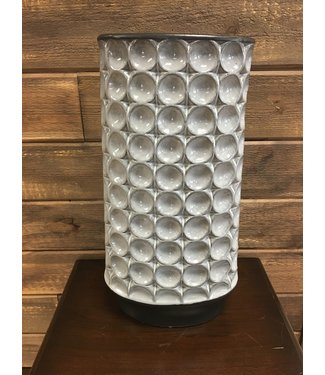 "18"" Tall Embossed Dot Grey Ceramic Vase"