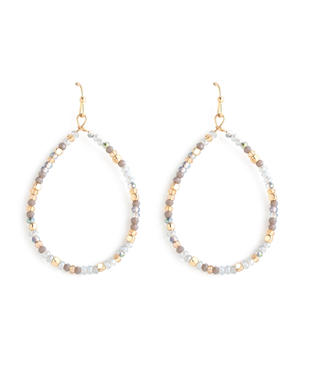 Gold Oval Gray Crystal Earrings