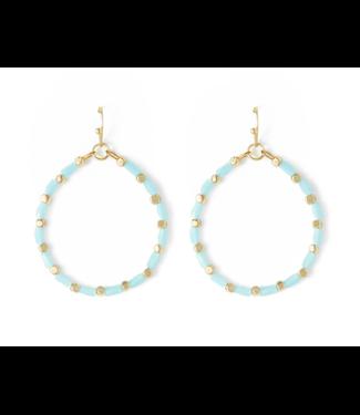 Gold Hoop Blue Crystal Earrings
