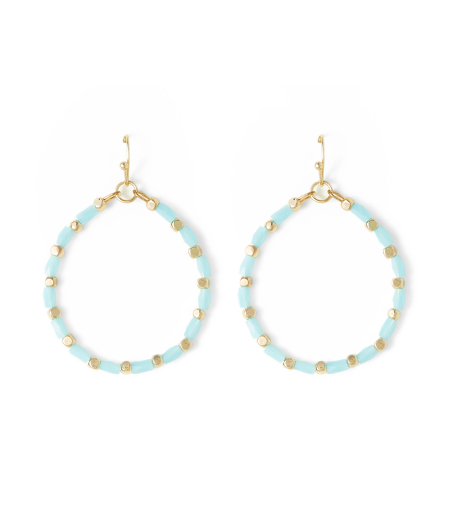 Gold Hoop Blue Crystal Earrings