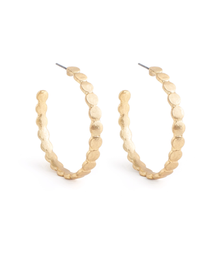 Gold Mini Circle Link Hoop Earrings