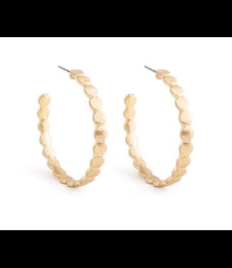 Gold Mini Circle Link Hoop Earrings