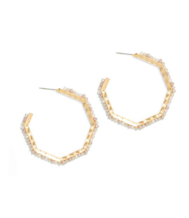 Gold Large Hexagon Ivory Crystal Earrings