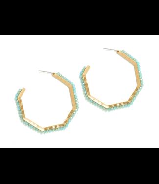 Gold Large Hexagon Aqua Crystal Earrings