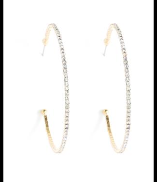 Gold Sparkle Hoops Earrings