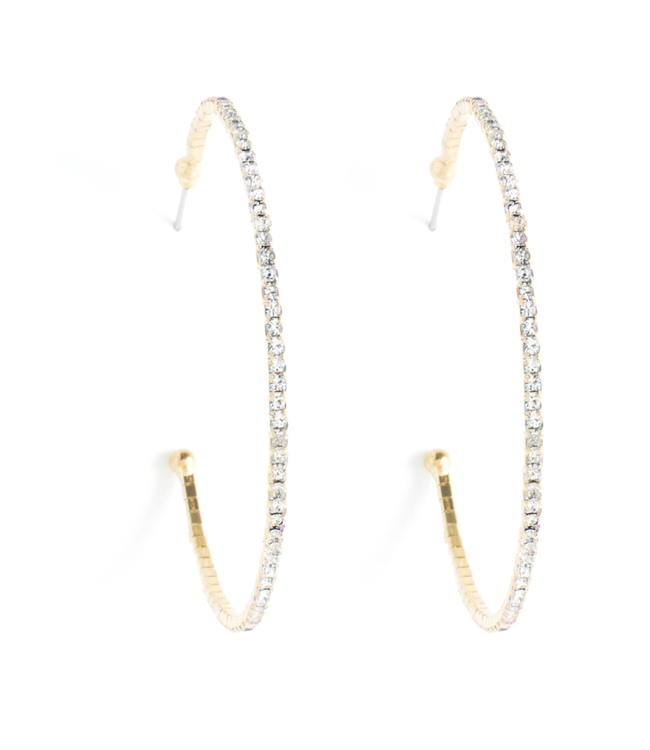 Gold Sparkle Hoops Earrings