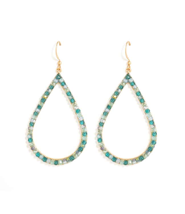 Gold Large Oval  Aqua Crystal Earrings