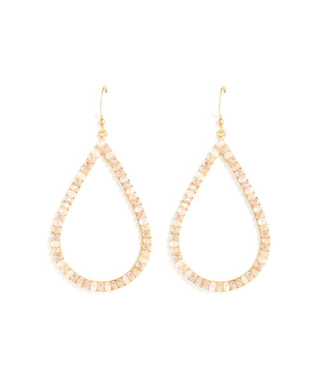 Gold Large Oval Ivory Crystal Earrings
