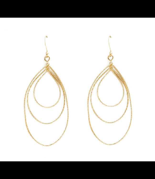Diamon Cut Triple Teardrop Gold Earrings