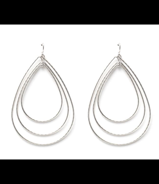 Triple Teardrop Silver Earrings