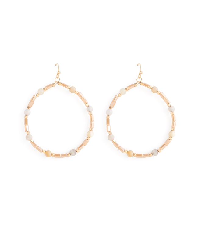 Gold Large Circle Peach Crystal Earrings