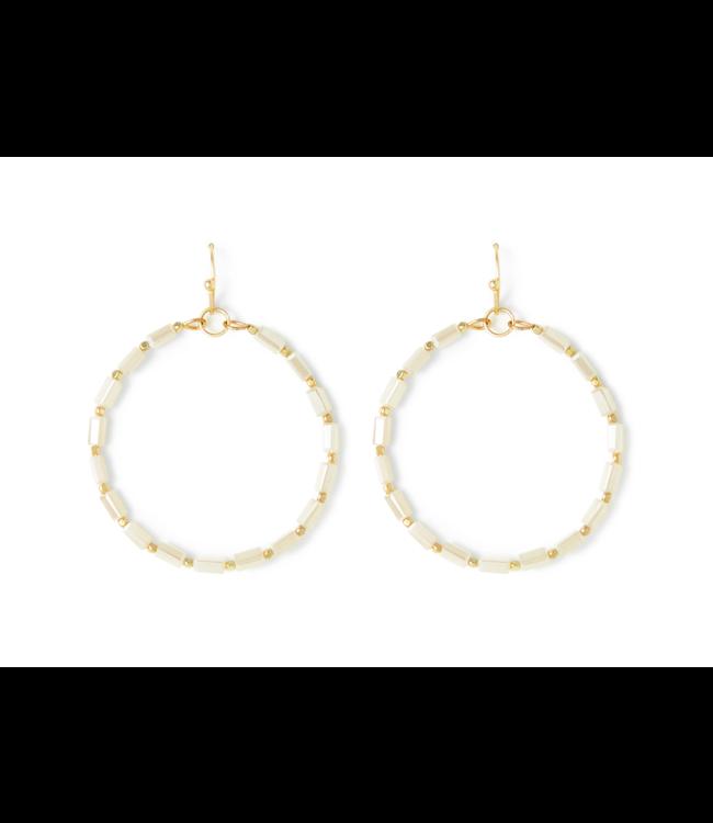 Gold Hoop Ivory Crystal Earrings