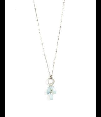Silver Necklace with Grey Crystals