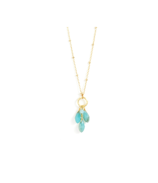 Gold Necklace with Aqua Crystals